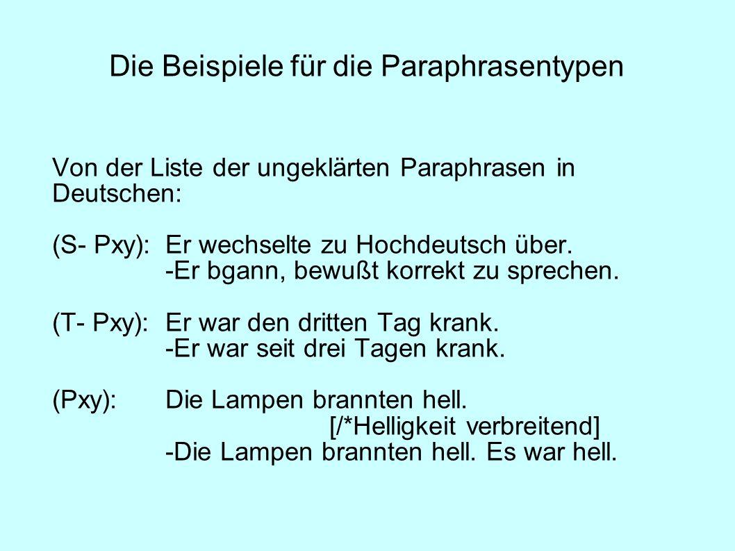 Die Beispiele für die Paraphrasentypen Von der Liste der ungeklärten Paraphrasen in Deutschen: (S- Pxy):Er wechselte zu Hochdeutsch über. -Er bgann, b