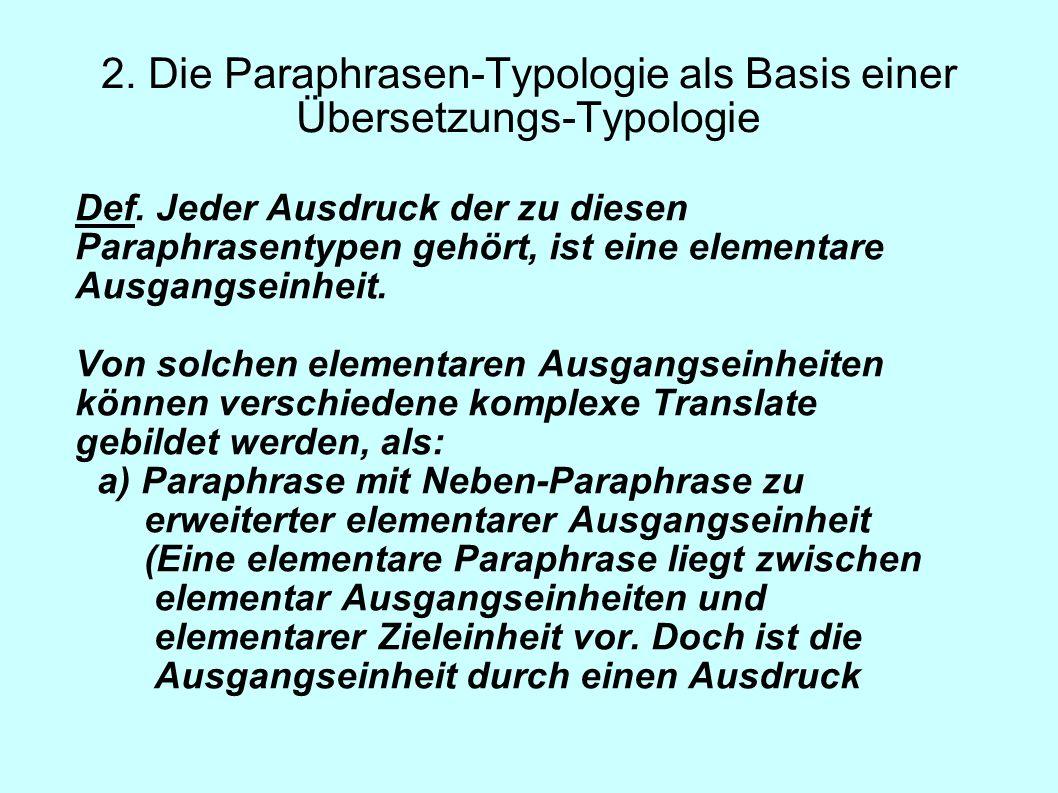 2. Die Paraphrasen-Typologie als Basis einer Übersetzungs-Typologie Def. Jeder Ausdruck der zu diesen Paraphrasentypen gehört, ist eine elementare Aus