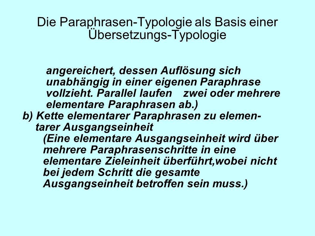 Die Paraphrasen-Typologie als Basis einer Übersetzungs-Typologie angereichert, dessen Auflösung sich unabhängig in einer eigenen Paraphrase vollzieht.