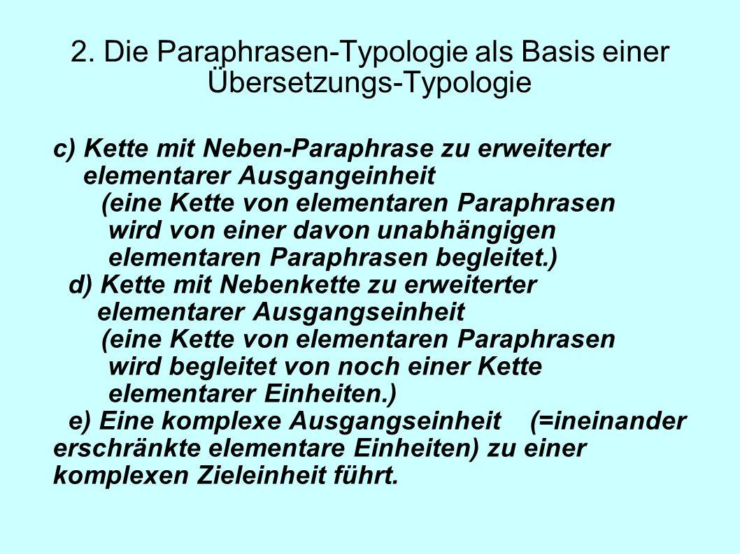 2. Die Paraphrasen-Typologie als Basis einer Übersetzungs-Typologie c) Kette mit Neben-Paraphrase zu erweiterter elementarer Ausgangeinheit (eine Kett