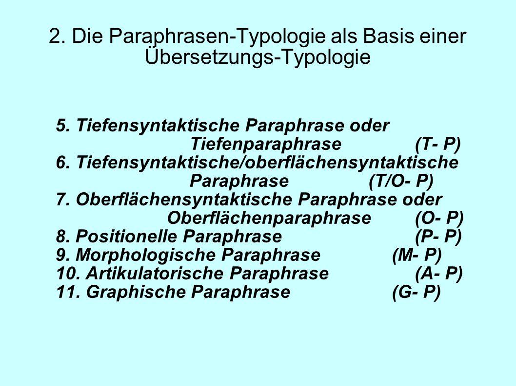 2. Die Paraphrasen-Typologie als Basis einer Übersetzungs-Typologie 5. Tiefensyntaktische Paraphrase oder Tiefenparaphrase (T- P) 6. Tiefensyntaktisch