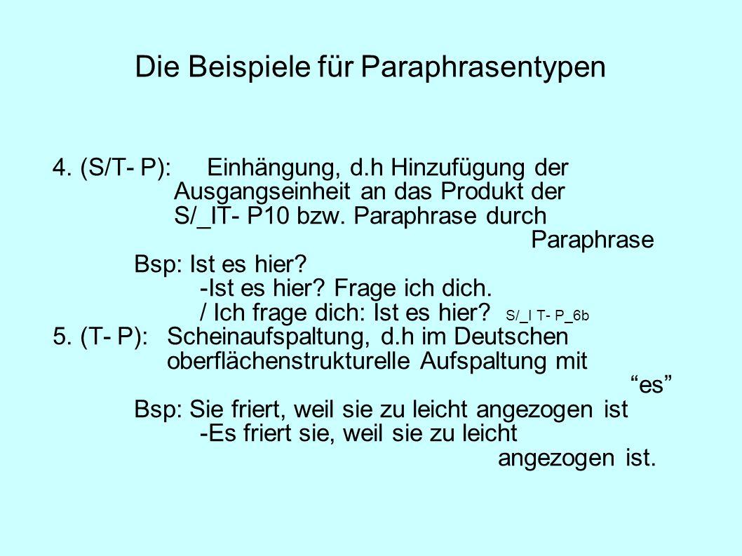 Die Beispiele für Paraphrasentypen 4. (S/T- P): Einhängung, d.h Hinzufügung der Ausgangseinheit an das Produkt der S/_IT- P10 bzw. Paraphrase durch Pa