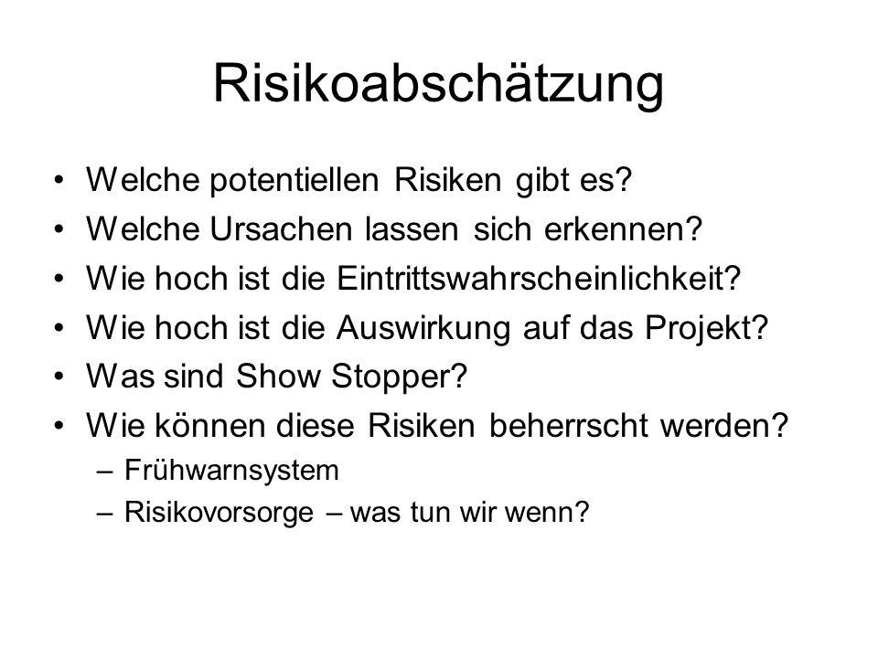Risikoabschätzung Welche potentiellen Risiken gibt es? Welche Ursachen lassen sich erkennen? Wie hoch ist die Eintrittswahrscheinlichkeit? Wie hoch is