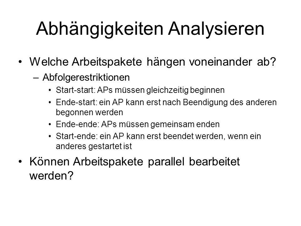 Abhängigkeiten Analysieren Welche Arbeitspakete hängen voneinander ab? –Abfolgerestriktionen Start-start: APs müssen gleichzeitig beginnen Ende-start: