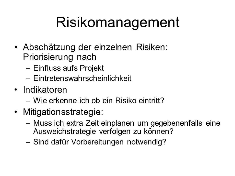 Abschätzung der einzelnen Risiken: Priorisierung nach –Einfluss aufs Projekt –Eintretenswahrscheinlichkeit Indikatoren –Wie erkenne ich ob ein Risiko