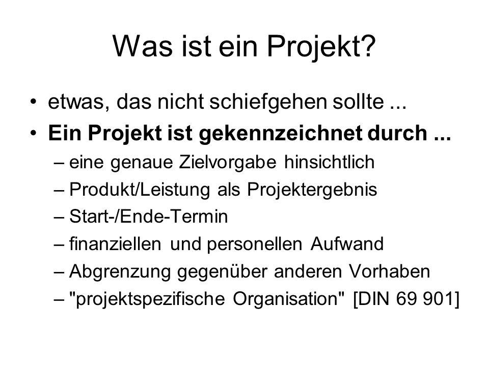 Was ist ein Projekt? etwas, das nicht schiefgehen sollte... Ein Projekt ist gekennzeichnet durch... –eine genaue Zielvorgabe hinsichtlich –Produkt/Lei