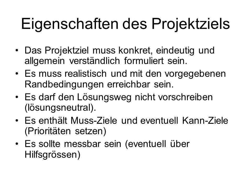 Eigenschaften des Projektziels Das Projektziel muss konkret, eindeutig und allgemein verständlich formuliert sein. Es muss realistisch und mit den vor