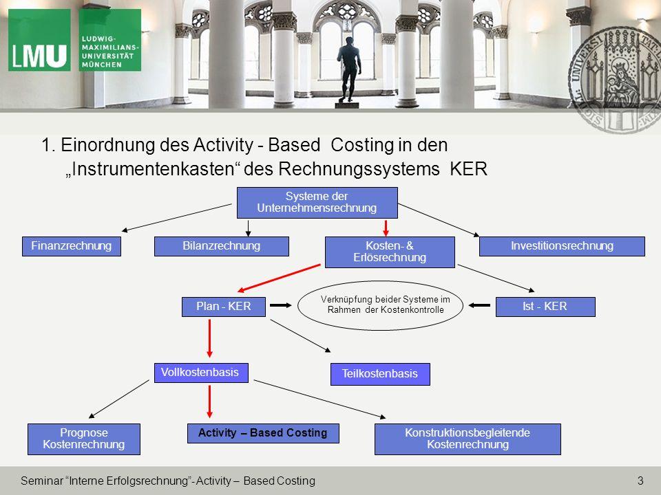 3 Seminar Interne Erfolgsrechnung- Activity – Based Costing 1. Einordnung des Activity - Based Costing in den Instrumentenkasten des Rechnungssystems