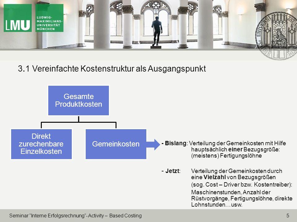 5 Seminar Interne Erfolgsrechnung- Activity – Based Costing 3. 1 Vereinfachte Kostenstruktur als Ausgangspunkt - Bislang: Verteilung der Gemeinkosten