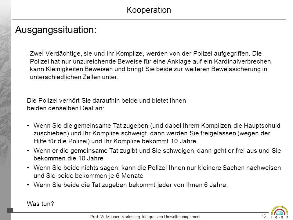 16 Prof. W. Mauser: Vorlesung: Integratives Umweltmanagement Kooperation Ausgangssituation: Zwei Verdächtige, sie und Ihr Komplize, werden von der Pol