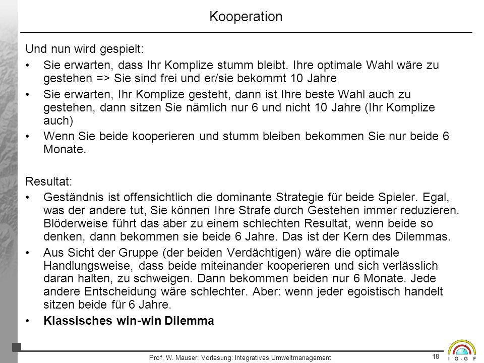 18 Prof. W. Mauser: Vorlesung: Integratives Umweltmanagement Kooperation Und nun wird gespielt: Sie erwarten, dass Ihr Komplize stumm bleibt. Ihre opt