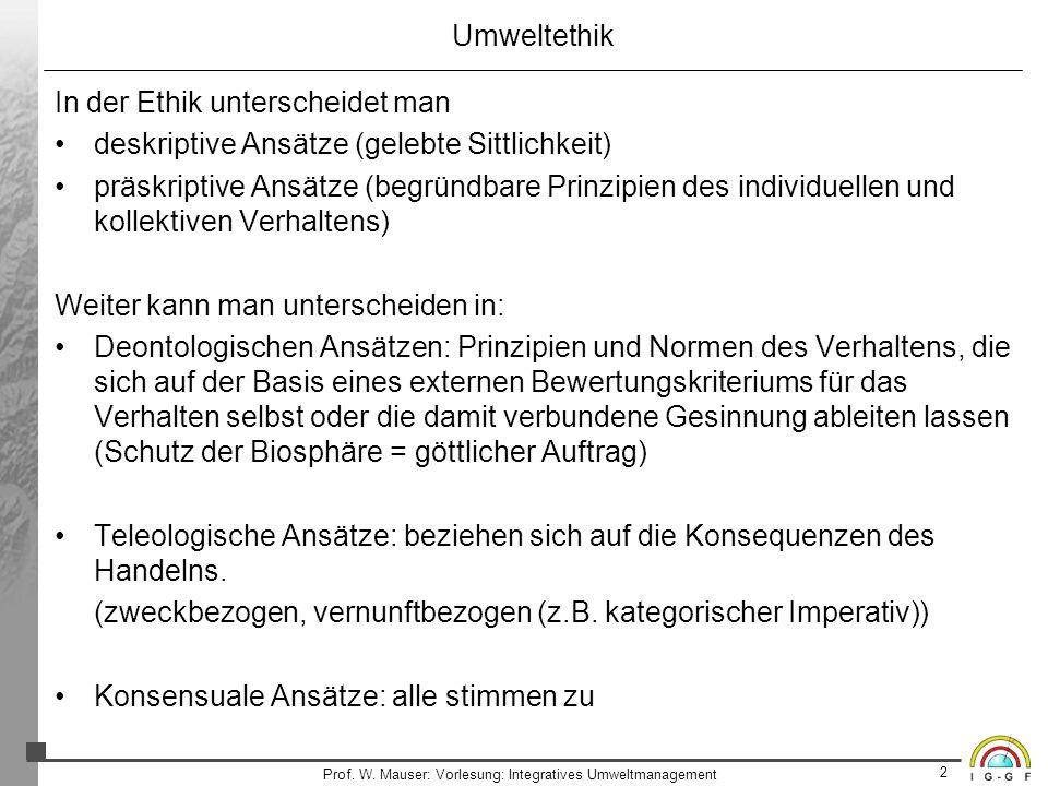 2 Prof. W. Mauser: Vorlesung: Integratives Umweltmanagement Umweltethik In der Ethik unterscheidet man deskriptive Ansätze (gelebte Sittlichkeit) präs
