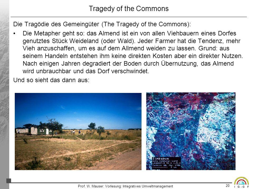 20 Prof. W. Mauser: Vorlesung: Integratives Umweltmanagement Tragedy of the Commons Die Tragödie des Gemeingüter (The Tragedy of the Commons): Die Met