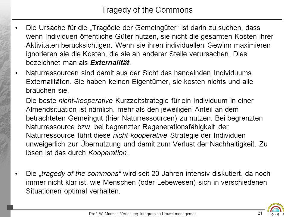 21 Prof. W. Mauser: Vorlesung: Integratives Umweltmanagement Tragedy of the Commons Die Ursache für die Tragödie der Gemeingüter ist darin zu suchen,