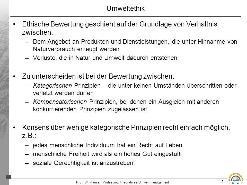 5 Prof. W. Mauser: Vorlesung: Integratives Umweltmanagement Umweltethik Ethische Bewertung geschieht auf der Grundlage von Verhältnis zwischen: –Dem A