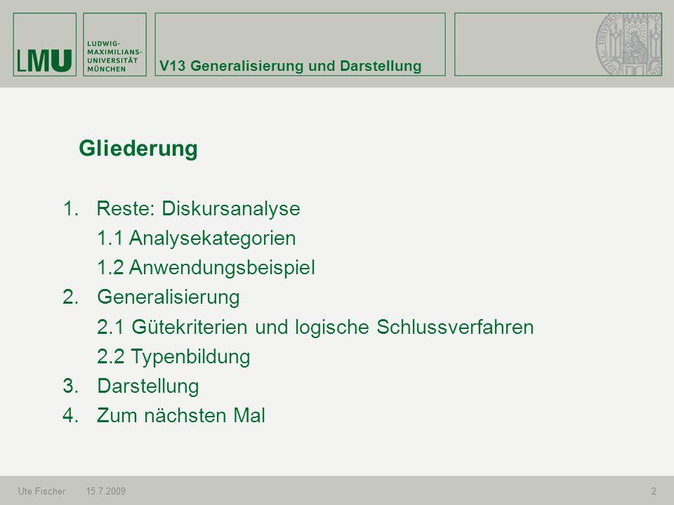 V13 Generalisierung und Darstellung Ute Fischer15.7.20092 Gliederung 1.Reste: Diskursanalyse 1.1 Analysekategorien 1.2 Anwendungsbeispiel 2. Generalis