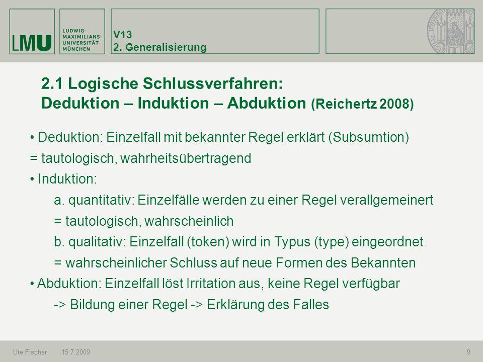 V13 2. Generalisierung Ute Fischer15.7.20099 2.1 Logische Schlussverfahren: Deduktion – Induktion – Abduktion (Reichertz 2008) Deduktion: Einzelfall m