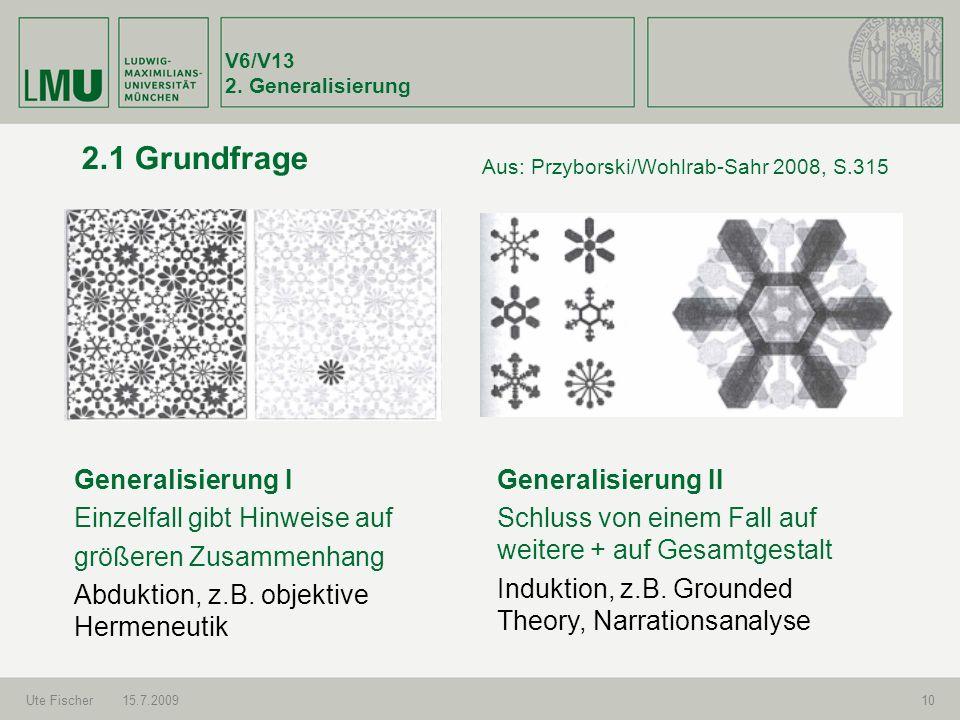 V6/V13 2. Generalisierung Ute Fischer15.7.200910 2.1 Grundfrage Generalisierung I Einzelfall gibt Hinweise auf größeren Zusammenhang Abduktion, z.B. o