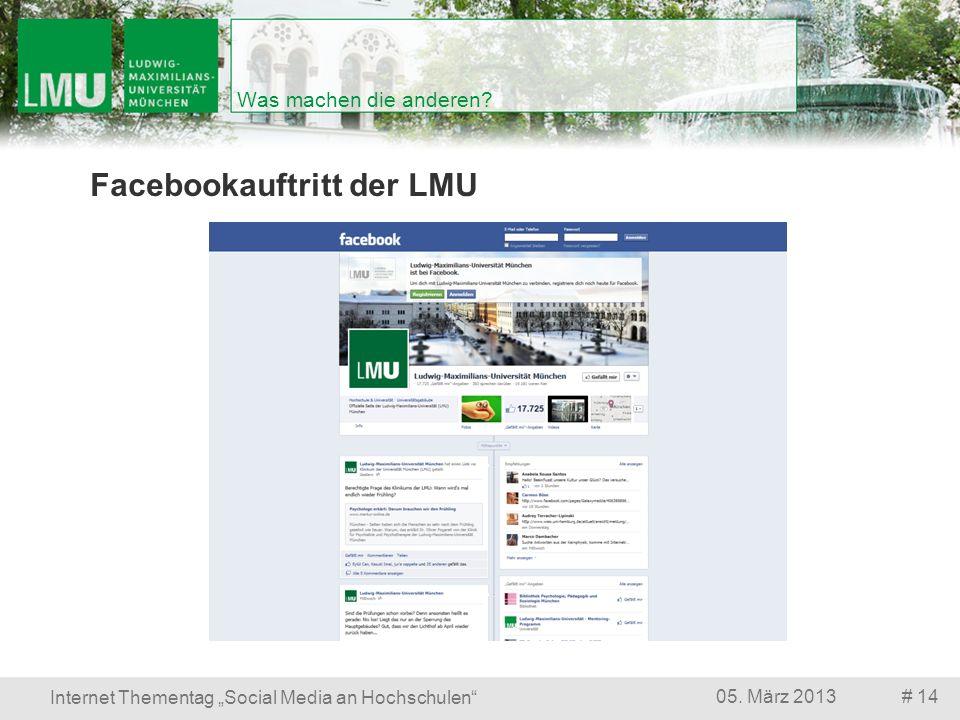 # 1405. März 2013 Internet Thementag Social Media an Hochschulen Was machen die anderen? Facebookauftritt der LMU