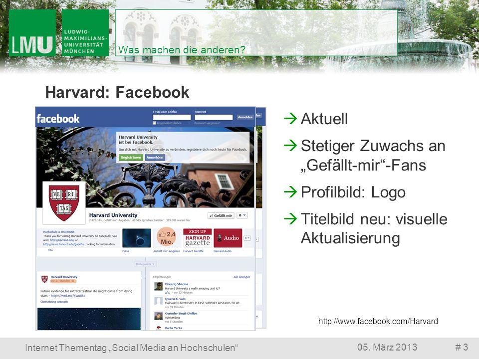 # 305. März 2013 Internet Thementag Social Media an Hochschulen Was machen die anderen? Harvard: Facebook http://www.facebook.com/Harvard Aktuell Stet
