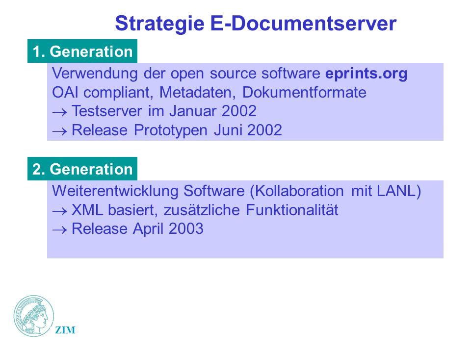 ZIM Strategie E-Documentserver Verwendung der open source software eprints.org OAI compliant, Metadaten, Dokumentformate Testserver im Januar 2002 Release Prototypen Juni 2002 1.