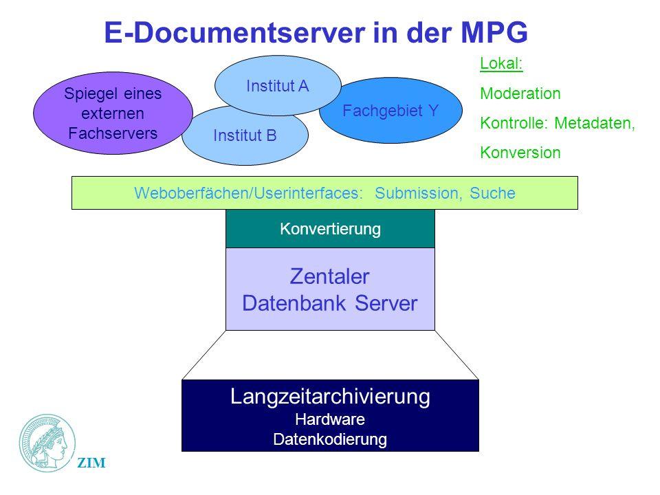 ZIM E-Documentserver in der MPG Zentaler Datenbank Server Langzeitarchivierung Hardware Datenkodierung Fachgebiet Y Institut B Lokal: Moderation Kontr