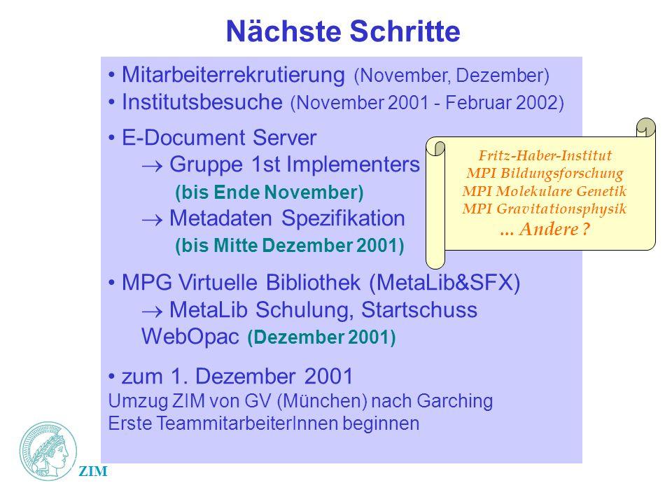 ZIM Nächste Schritte Mitarbeiterrekrutierung (November, Dezember) Institutsbesuche (November 2001 - Februar 2002) E-Document Server Gruppe 1st Impleme