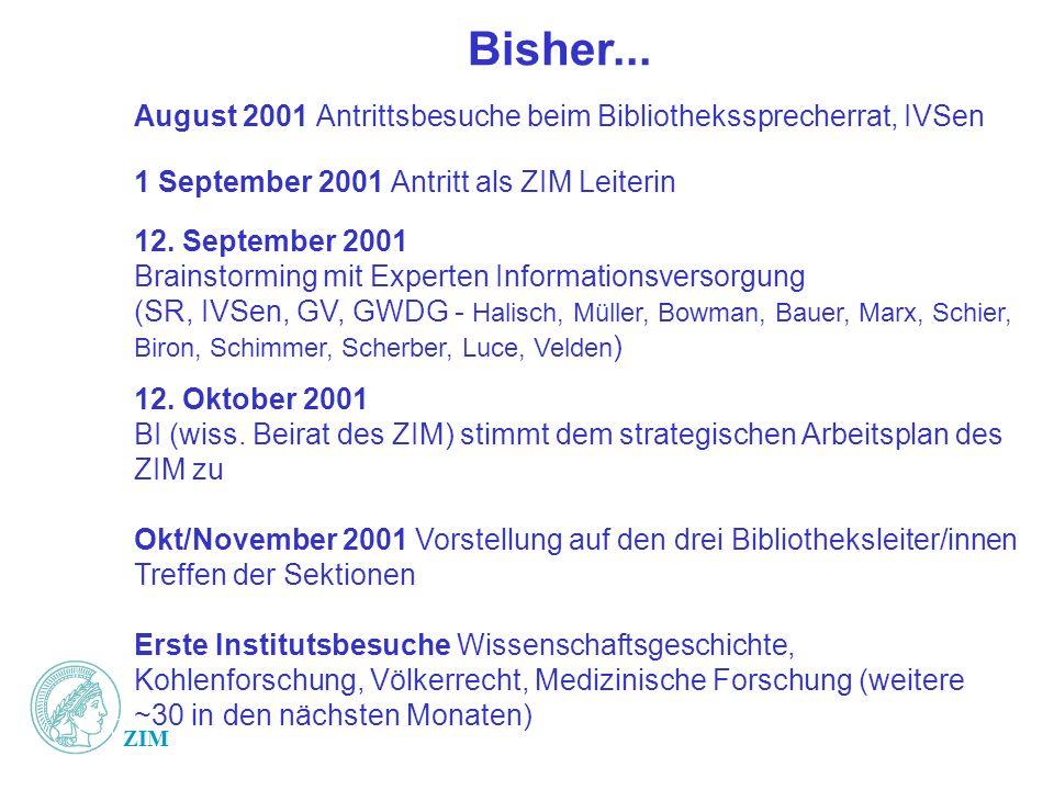 ZIM Bisher... August 2001 Antrittsbesuche beim Bibliothekssprecherrat, IVSen 1 September 2001 Antritt als ZIM Leiterin 12. September 2001 Brainstormin
