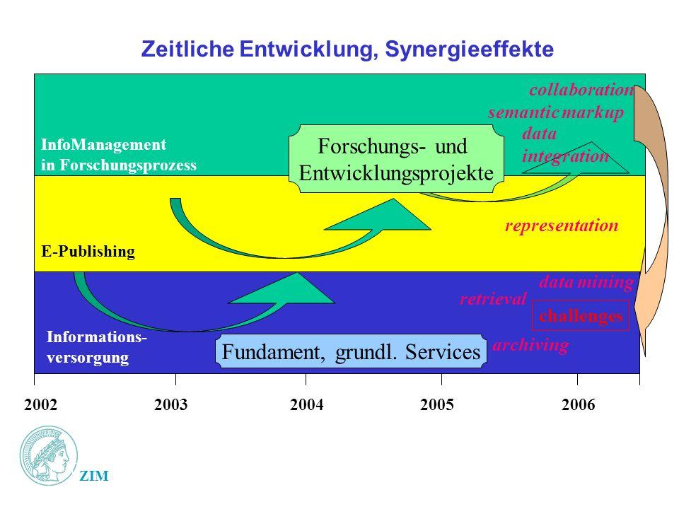 Zeitliche Entwicklung, Synergieeffekte 20022003200420052006 Forschungs- und Entwicklungsprojekte Fundament, grundl. Services Informations- versorgung