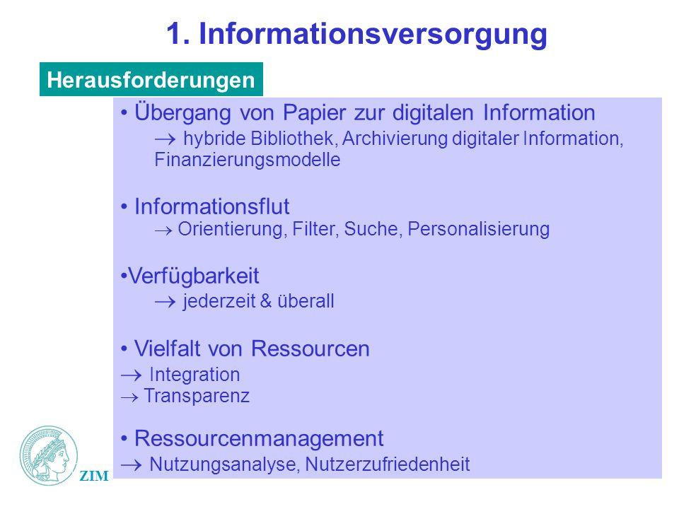 ZIM 1. Informationsversorgung Übergang von Papier zur digitalen Information hybride Bibliothek, Archivierung digitaler Information, Finanzierungsmodel