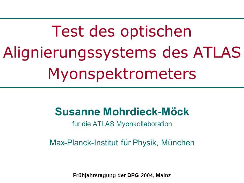 Das ATLAS-Myonspektrometer ATLAS am LHC: Mehrzweckdetektor zur Suche von Higgs und neuer Physik (14TeV) Myon Spektrometer: toroidales Magnetfeld: = 0.4 T hohe p t -Auflösung für µ von 10-1000GeV unabhängig vom Polarwinkel großer Hebelarm wegen hoher stand-alone Genauigkeit 24m x 48m Luftspulen zur Minimierung der Vielfachstreuung 3 Kammerlagen: - zylindersymmetrisch im Zentralbereich - scheibenförmig in den Endkappen Abdeckung: | | < 2.7 Kammertechnologien: schnelle Triggerkammern: TGC, RPC hochauflösende Spur- detektoren: MDT, CSC
