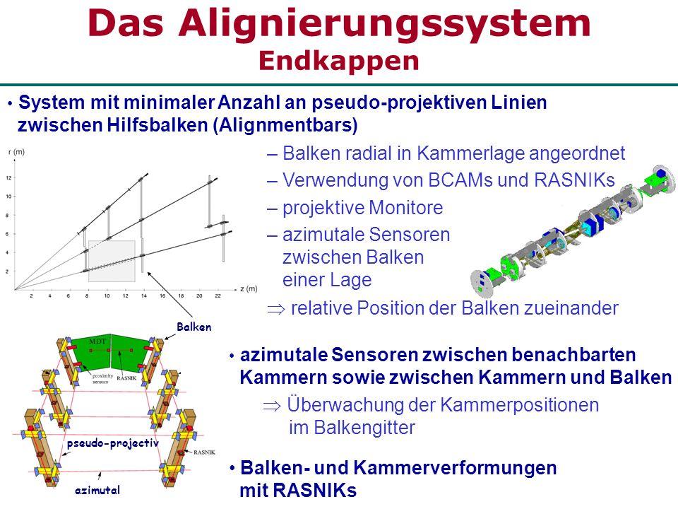 azimutal pseudo-projectiv Balken azimutale Sensoren zwischen benachbarten Kammern sowie zwischen Kammern und Balken Überwachung der Kammerpositionen i
