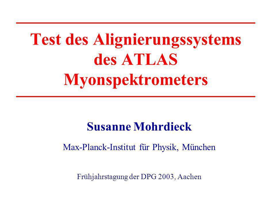 Test des Alignierungssystems des ATLAS Myonspektrometers Susanne Mohrdieck Max-Planck-Institut für Physik, München Frühjahrstagung der DPG 2003, Aache