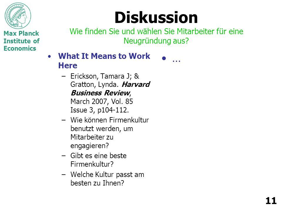 Max Planck Institute of Economics 11 Diskussion Wie finden Sie und wählen Sie Mitarbeiter für eine Neugründung aus.