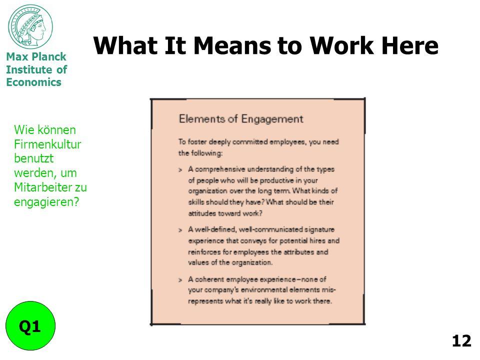 Max Planck Institute of Economics 12 What It Means to Work Here Q1 Wie können Firmenkultur benutzt werden, um Mitarbeiter zu engagieren