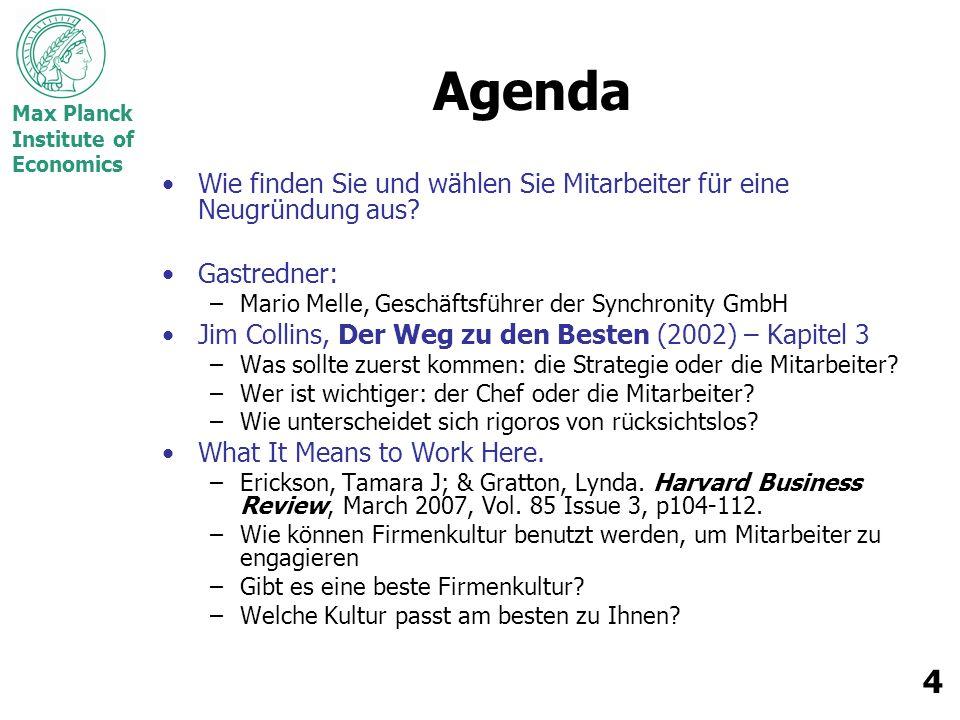 Max Planck Institute of Economics 4 Agenda Wie finden Sie und wählen Sie Mitarbeiter für eine Neugründung aus.