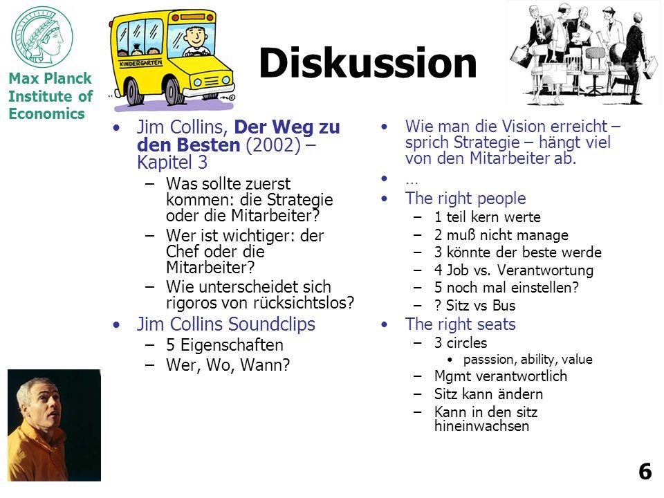 Max Planck Institute of Economics 6 Diskussion Jim Collins, Der Weg zu den Besten (2002) – Kapitel 3 –Was sollte zuerst kommen: die Strategie oder die Mitarbeiter.
