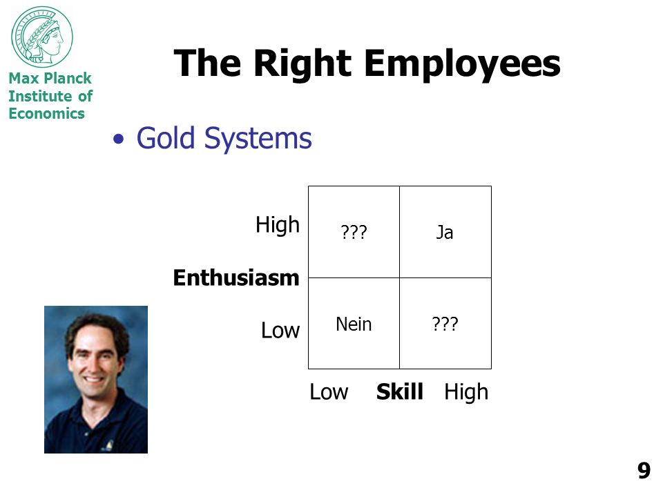 Max Planck Institute of Economics 9 The Right Employees Gold Systems Nein .
