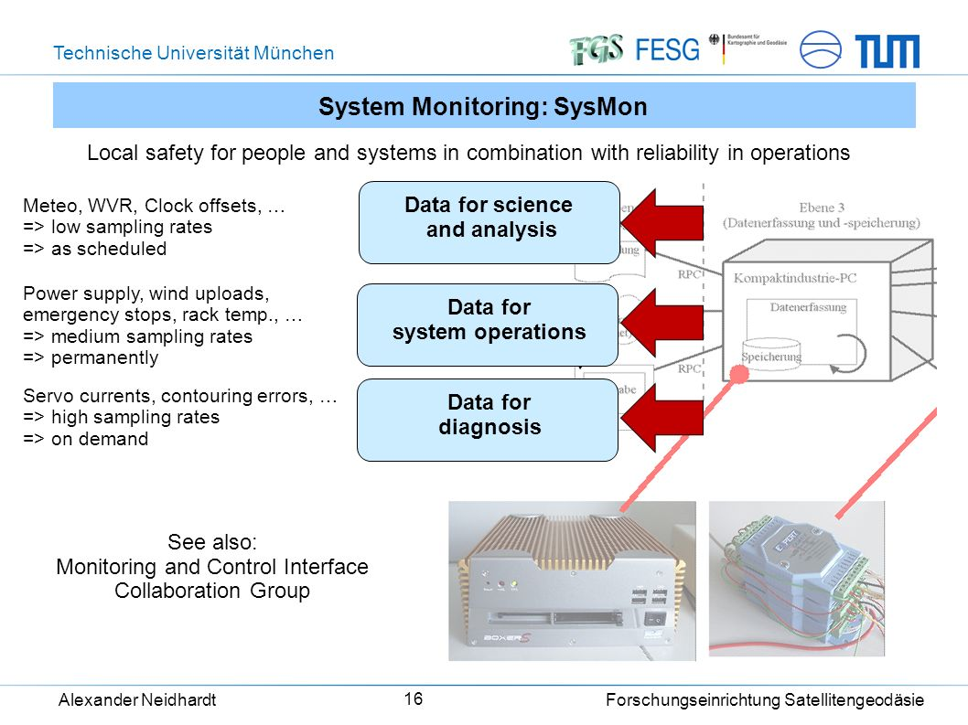 Technische Universität München Alexander Neidhardt Forschungseinrichtung Satellitengeodäsie 16 System Monitoring: SysMon Local safety for people and systems in combination with reliability in operations Data for science and analysis Data for system operations Data for diagnosis Meteo, WVR, Clock offsets, … => low sampling rates => as scheduled Power supply, wind uploads, emergency stops, rack temp., … => medium sampling rates => permanently Servo currents, contouring errors, … => high sampling rates => on demand See also: Monitoring and Control Interface Collaboration Group