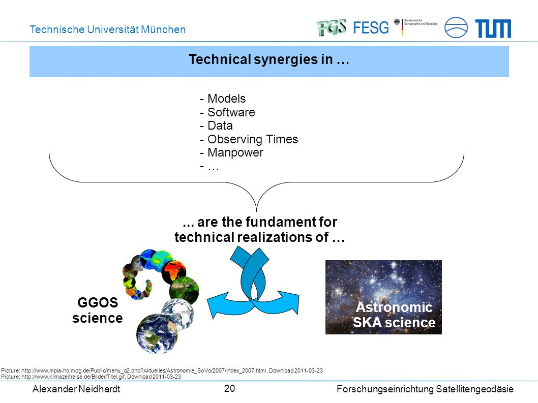 Technische Universität München Alexander Neidhardt Forschungseinrichtung Satellitengeodäsie 20 Technical synergies in … - Models - Software - Data - Observing Times - Manpower - … Picture: http://www.mpia-hd.mpg.de/Public/menu_q2.php Aktuelles/Astronomie_SoVo/2007/index_2007.html, Download 2011-03-23 Picture: http://www.klimazeitreise.de/Bilder/Titel.gif, Download 2011-03-23 GGOS science...