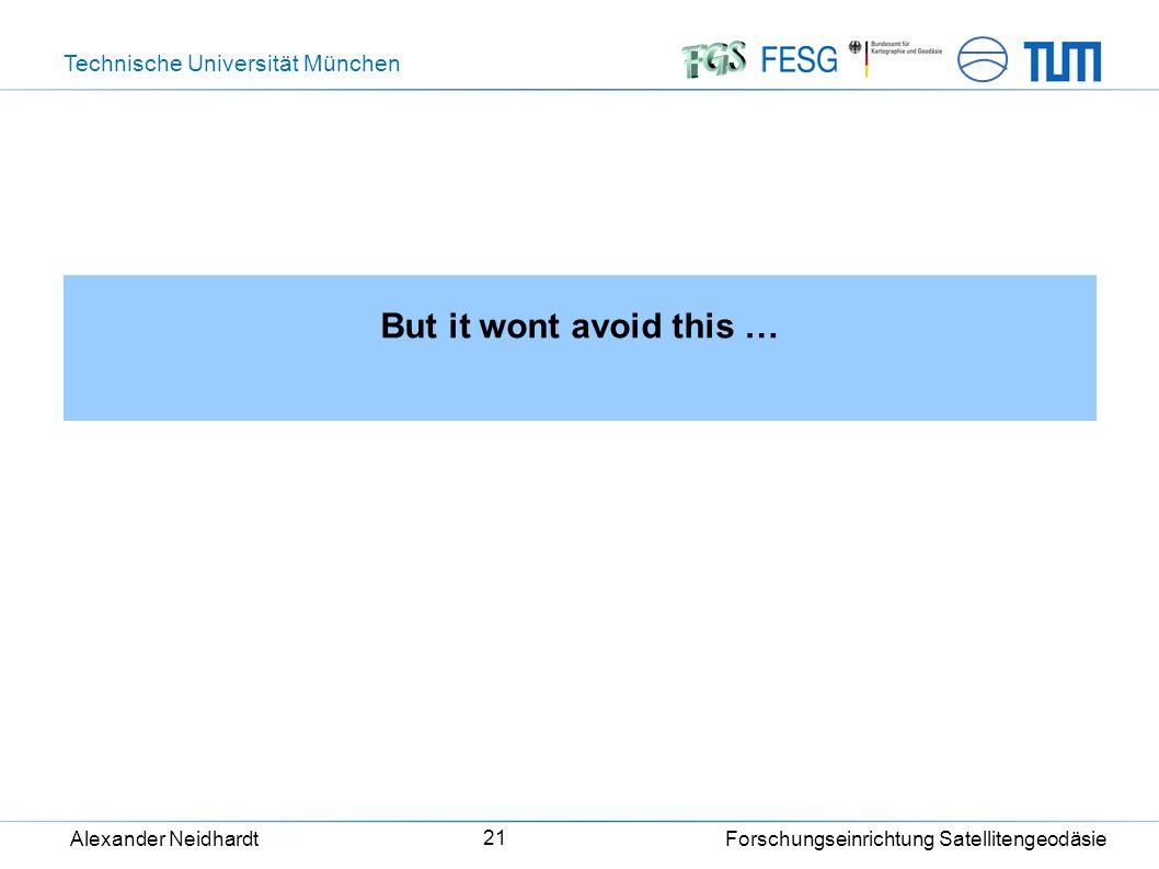 Technische Universität München Alexander Neidhardt Forschungseinrichtung Satellitengeodäsie 21 But it wont avoid this …