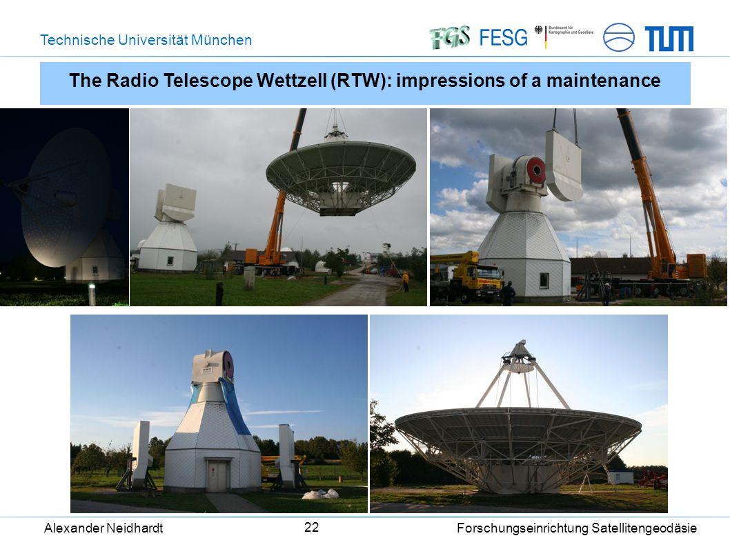 Technische Universität München Alexander Neidhardt Forschungseinrichtung Satellitengeodäsie 22 The Radio Telescope Wettzell (RTW): impressions of a maintenance