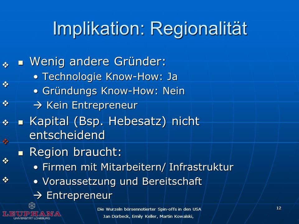 Die Wurzeln börsennotierter Spin-offs in den USA Jan Dürbeck, Emily Keller, Martin Kowalski, 12 Implikation: Regionalität Wenig andere Gründer: Wenig