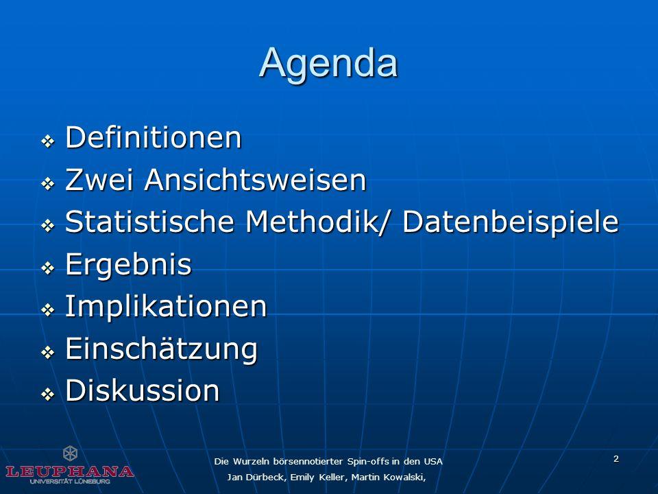 Die Wurzeln börsennotierter Spin-offs in den USA Jan Dürbeck, Emily Keller, Martin Kowalski, 2 Agenda Definitionen Definitionen Zwei Ansichtsweisen Zw