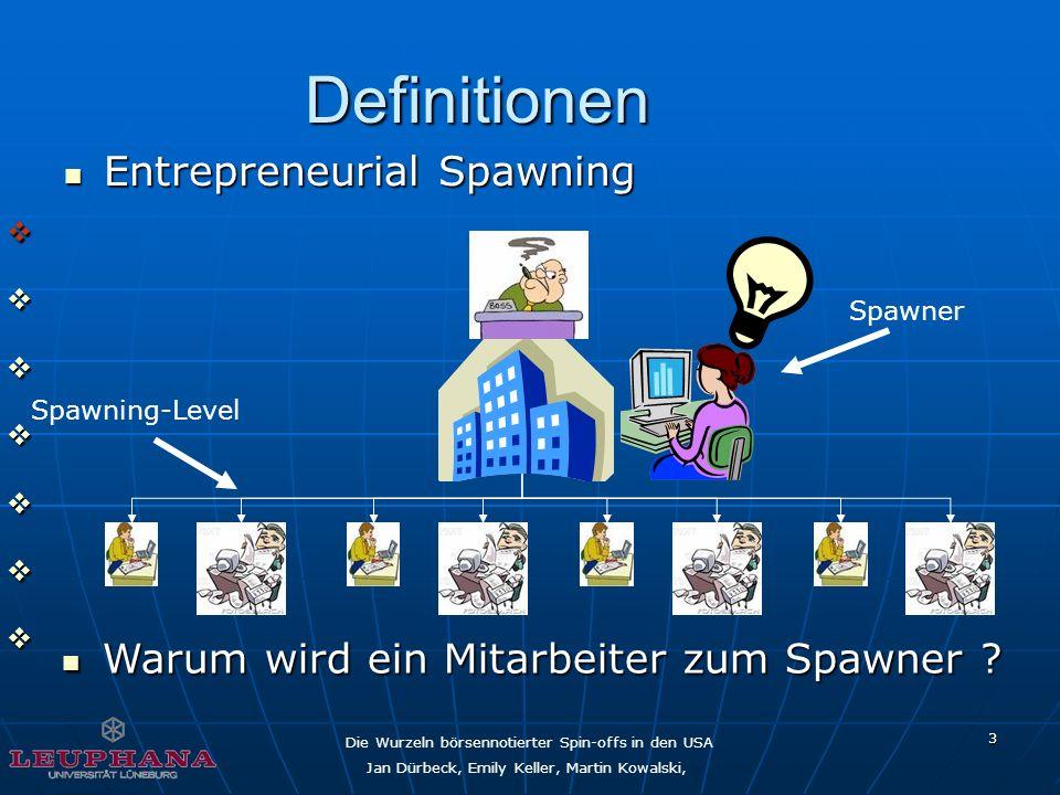 Die Wurzeln börsennotierter Spin-offs in den USA Jan Dürbeck, Emily Keller, Martin Kowalski, 3 Definitionen Spawning-Level Spawner Entrepreneurial Spa