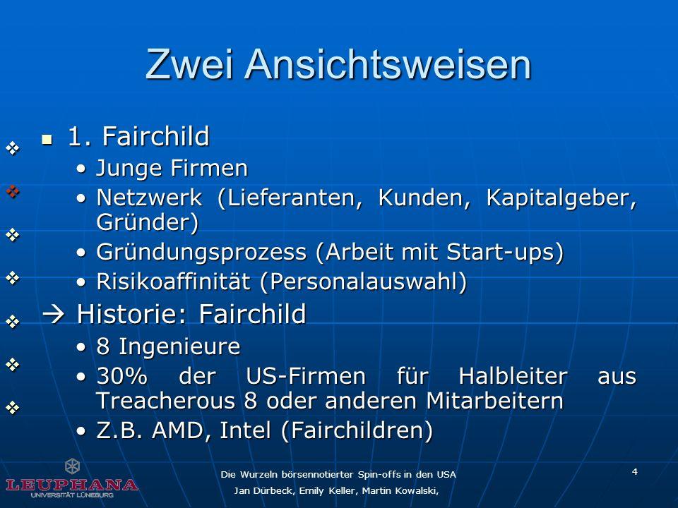 Die Wurzeln börsennotierter Spin-offs in den USA Jan Dürbeck, Emily Keller, Martin Kowalski, 4 Zwei Ansichtsweisen 1. Fairchild 1. Fairchild Junge Fir
