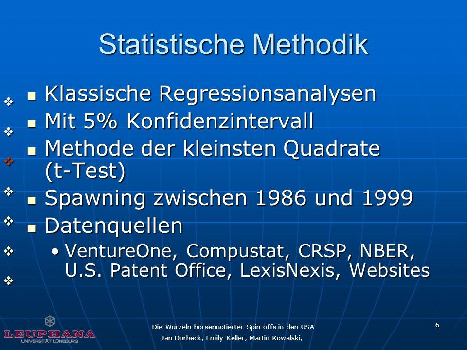 Die Wurzeln börsennotierter Spin-offs in den USA Jan Dürbeck, Emily Keller, Martin Kowalski, 6 Statistische Methodik Klassische Regressionsanalysen Kl