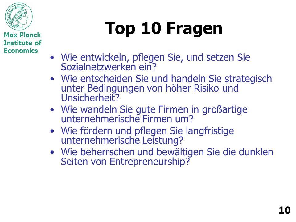 Max Planck Institute of Economics 10 Top 10 Fragen Wie entwickeln, pflegen Sie, und setzen Sie Sozialnetzwerken ein? Wie entscheiden Sie und handeln S