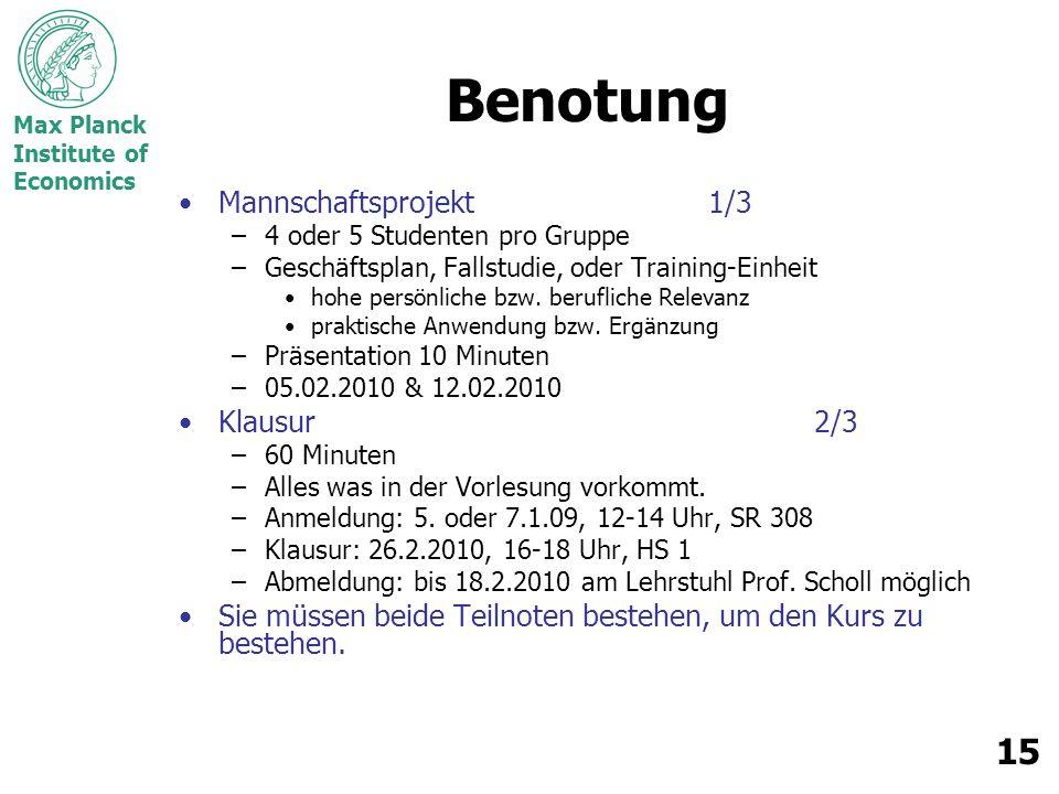 Max Planck Institute of Economics 15 Benotung Mannschaftsprojekt1/3 –4 oder 5 Studenten pro Gruppe –Geschäftsplan, Fallstudie, oder Training-Einheit h