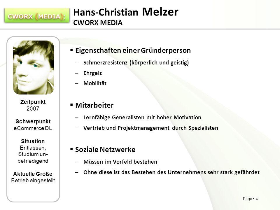 Page 4 Hans-Christian Melzer CWORX MEDIA Eigenschaften einer Gründerperson –Schmerzresistenz (körperlich und geistig) –Ehrgeiz –Mobilität Mitarbeiter